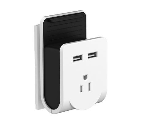 Power outlet and 2-port USB charger with phone cradle
