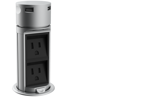 Pop-up socket + 2 Outlets + 2 USB stainless