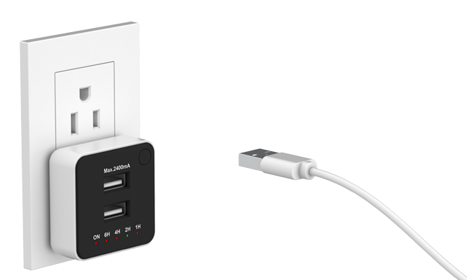 2-port USB charger with countdown timer