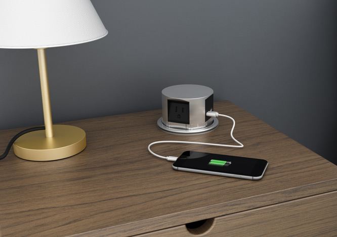 Pop-up socket + 3 Outlets + 2 USB